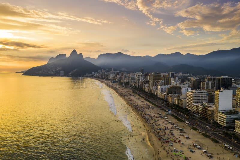 Sunset on the ocean at Rio de Janeiro, Ipanema beach. Brazil. Aerial view stock photography