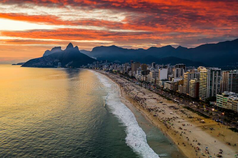 Sunset on the ocean at Rio de Janeiro, Ipanema beach. Brazil. Aerial view royalty free stock images