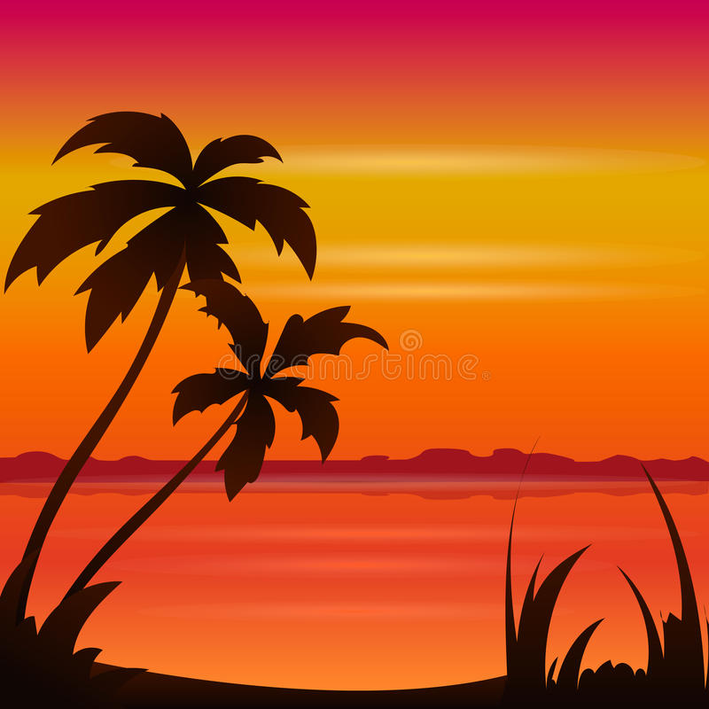 Sunset ocean summer beach with tropical palm tree over horizon vector illustration