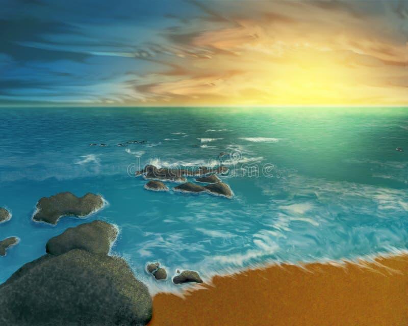 sunset oceaniczny ilustracji