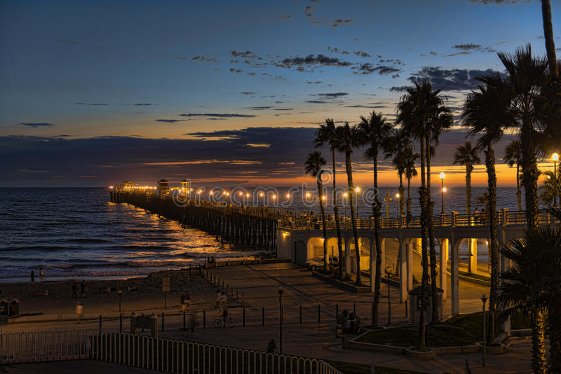 Sunset At The Oceanside Pier Stock Photography