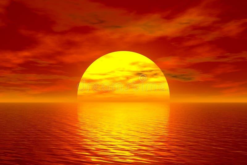 sunset oceanu ilustracji