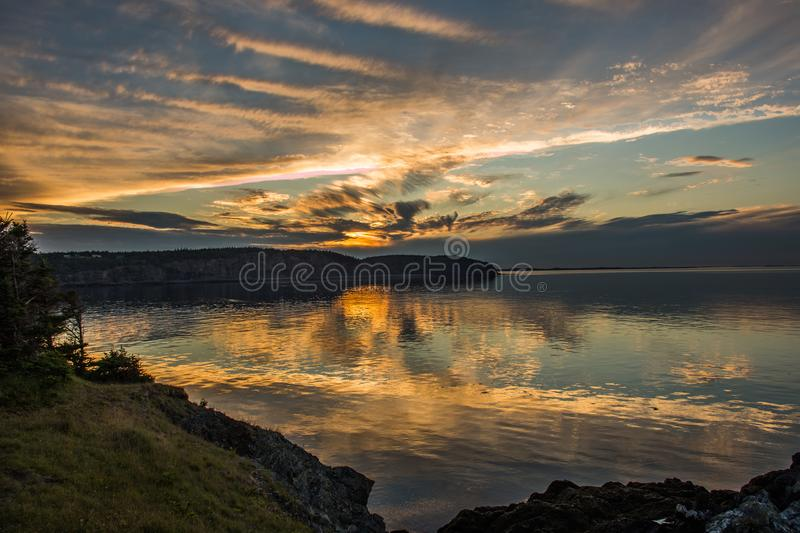 Sunset off the Bay of Fundy royalty free stock photos