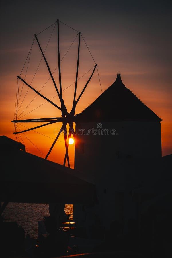 Sunset in oia santorini stock photos