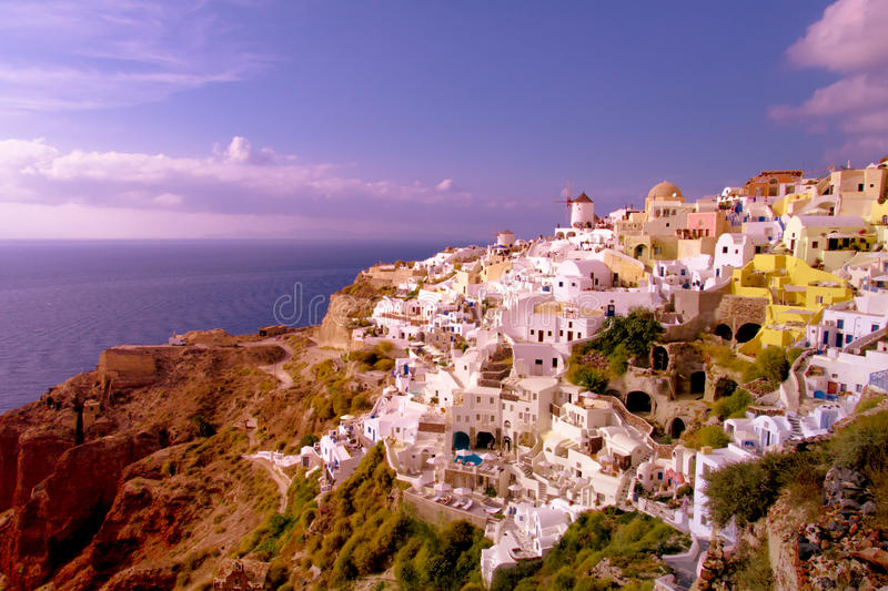 Sunset in Oia, Santorini Greece royalty free stock photography