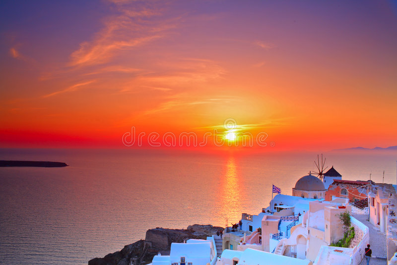 Sunset In Oia Village Stock Photo