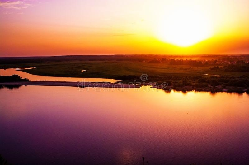 Sunset on the Oka River. royalty free stock photography