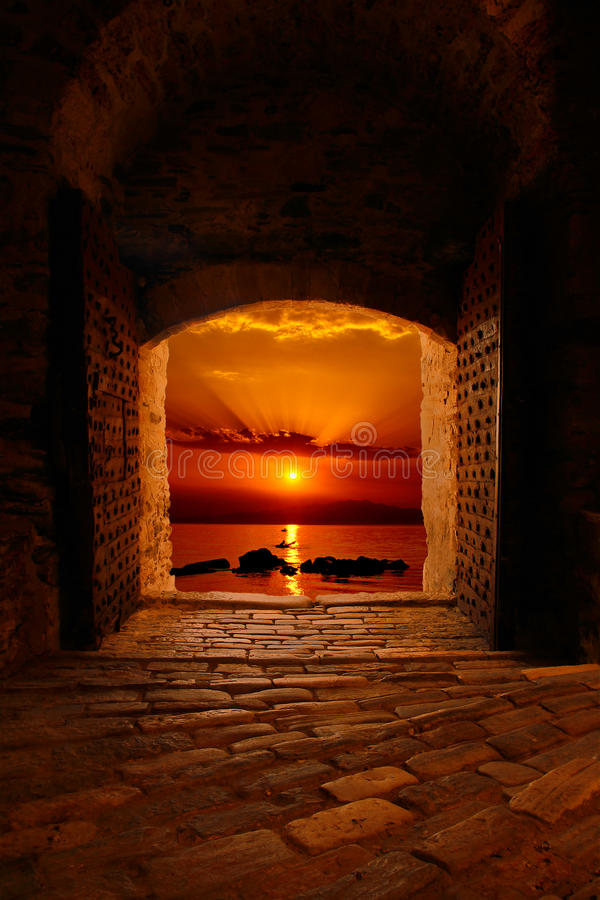 Download Sunset Through The Old Castle Stock Image - Image: 28193557