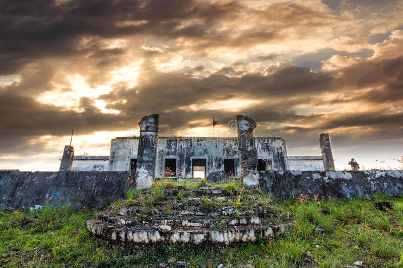 Sunset and and old hacienda royalty free stock photography