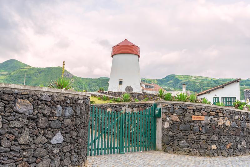 Lighthouse in Mosteiros on the island of Sao Miguel in the Azores, Portugal stock images