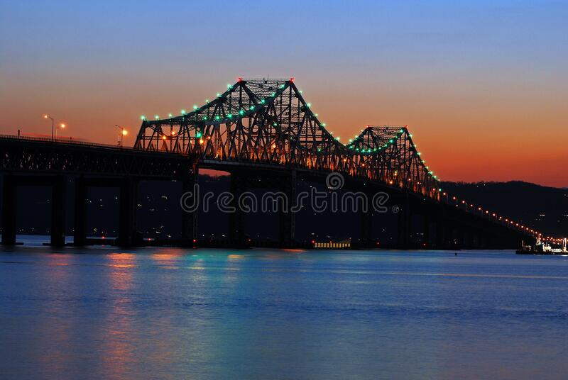 Sunset on the Old Tappan Zee Bridge. That spanned the Hudson River until 2017 royalty free stock photography