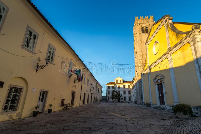 Motovun Square, Istria. Sunset on Old Town Motovun Square, Istria, Croatia, photographed with my Nikon D750 at Winter afternoon stock photos