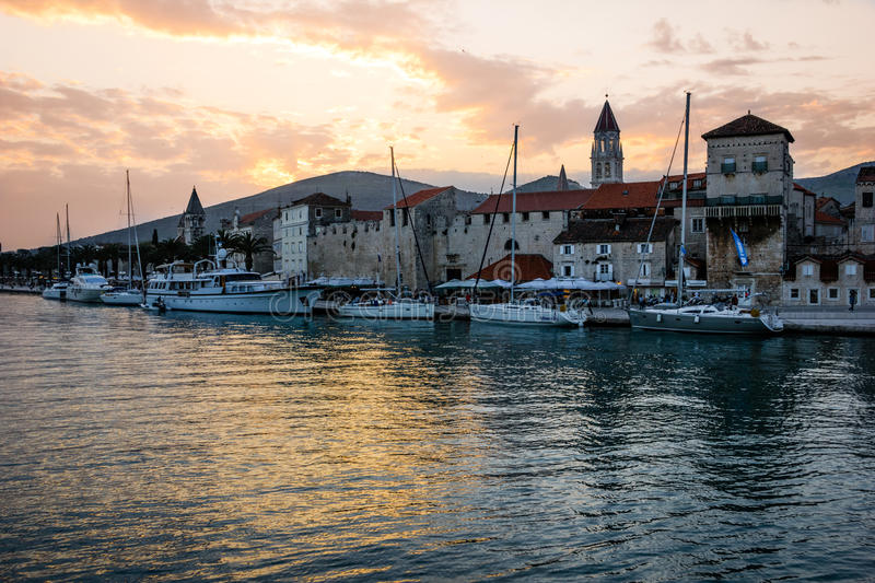 Sunset in the old town. Trogir. Croatia stock photo