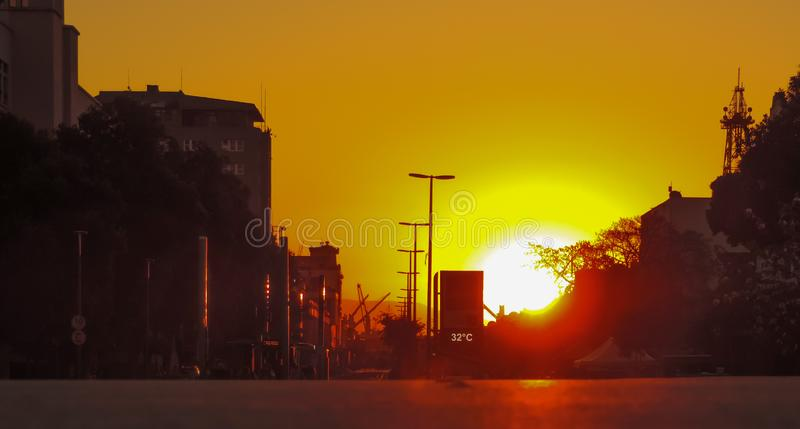 Sunset at Olimpyc Boulevard on 32 celcius. Photo taken at dusk time at maua square during the rush time street clock 32 celcius royalty free stock photo