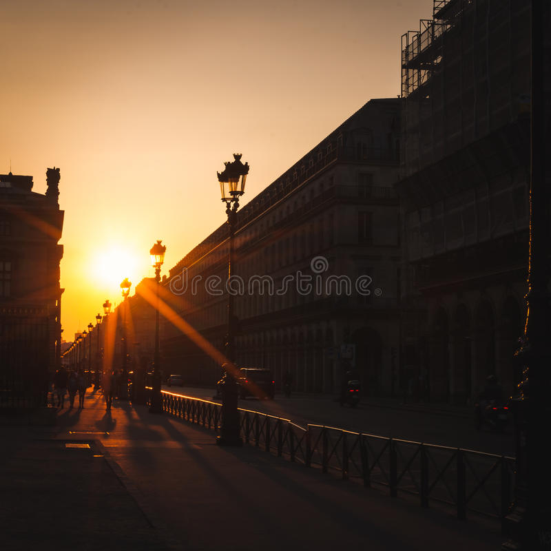 Free Sunset On The Street Of Rivoli In Paris Royalty Free Stock Photos - 94684568