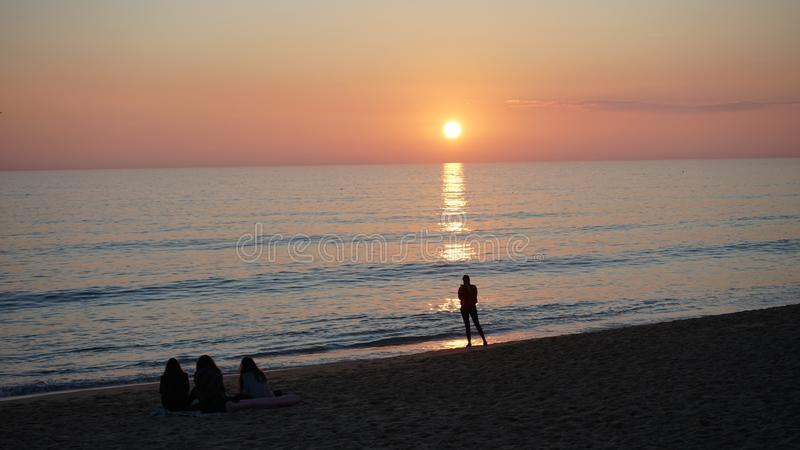 Sunset at one lovely beach in Portugal, Algarve stock photo