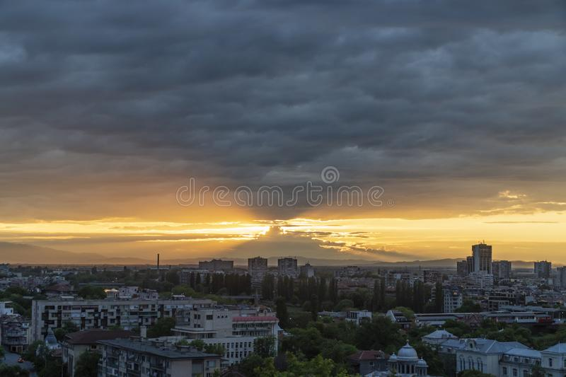 Sunset from one of the seven hills in Plovdiv city stock photos
