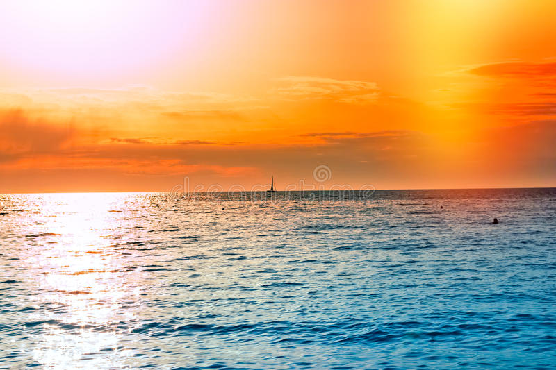 Sunset on open sea. Beautiful sunset at dusk royalty free stock images