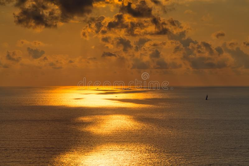 Sunset on open sea. In Italy stock photography