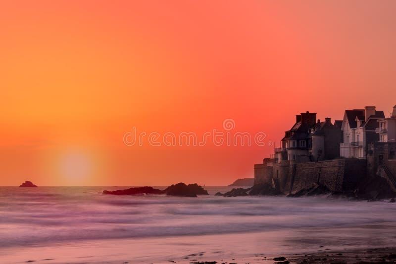 Sunset on the seaside villas. Sunset orange and pink on the villas of seaside of saint malo in Brittany