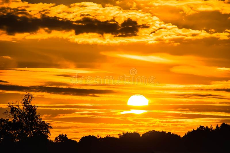 Sunset in orange skies over tree tops royalty free stock image