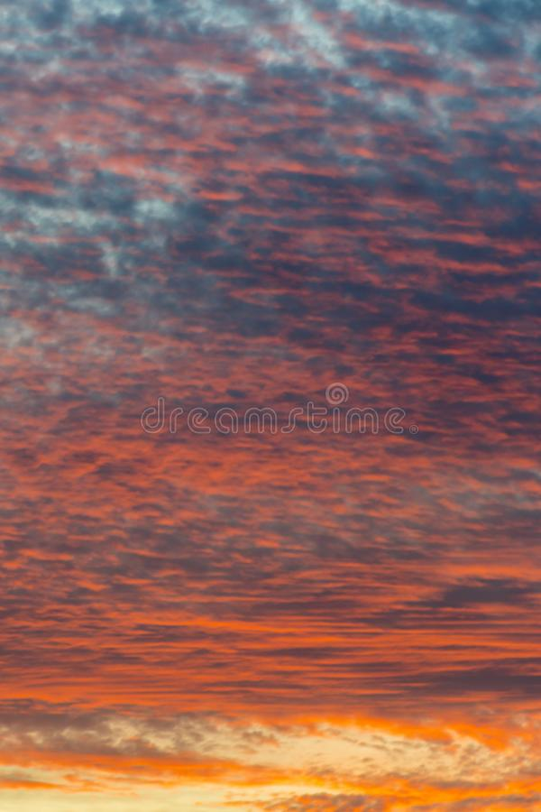 sunset with orange sky. Hot bright vibrant orange and yellow colors sunset sky. sunset with clouds. vertical photo royalty free stock image