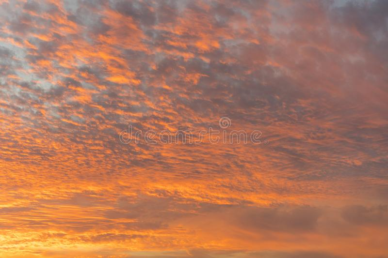 Sunset with orange sky. Hot bright vibrant orange and yellow colors sunset sky. sunset with clouds. stock photos