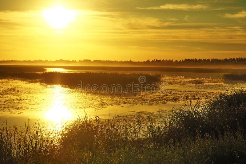 Sunset and orange sky over big lake Lubanas royalty free stock images