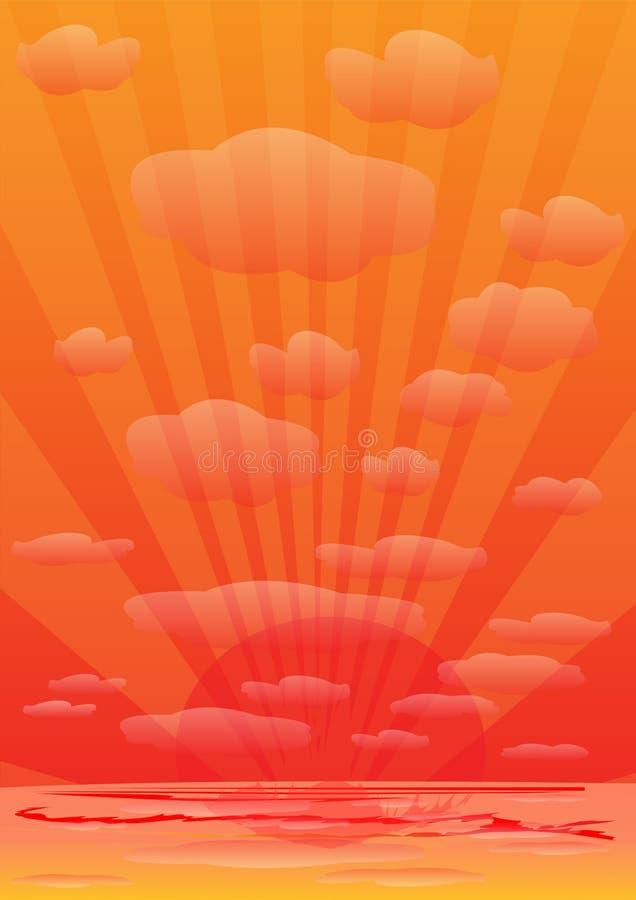 Sunset. Orange sunset and sun rays stock illustration