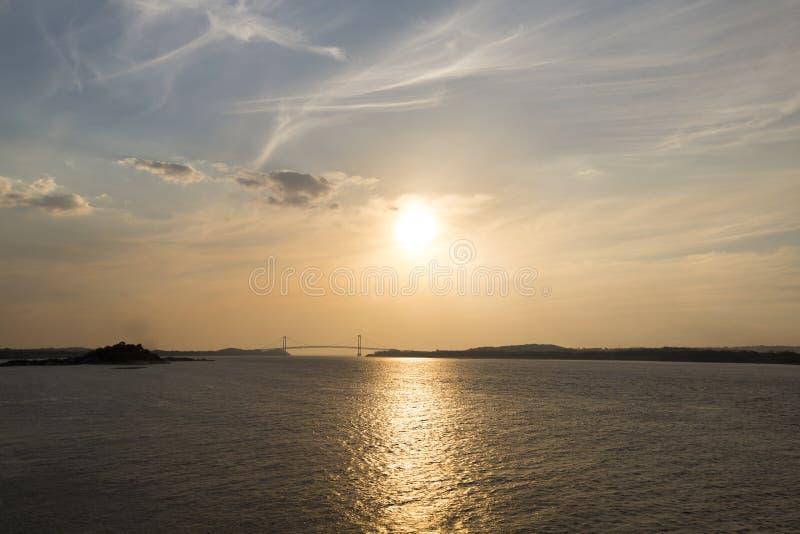 Sunset on the Orinoco River, Ciudad Bolivar, Venezuela. Sunset on the Orinoco River with the suspended bridge in Ciudad Bolivar. Venezuela 2015 stock photos