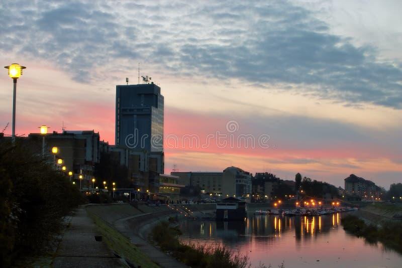 sunset osijek miasta zdjęcie royalty free