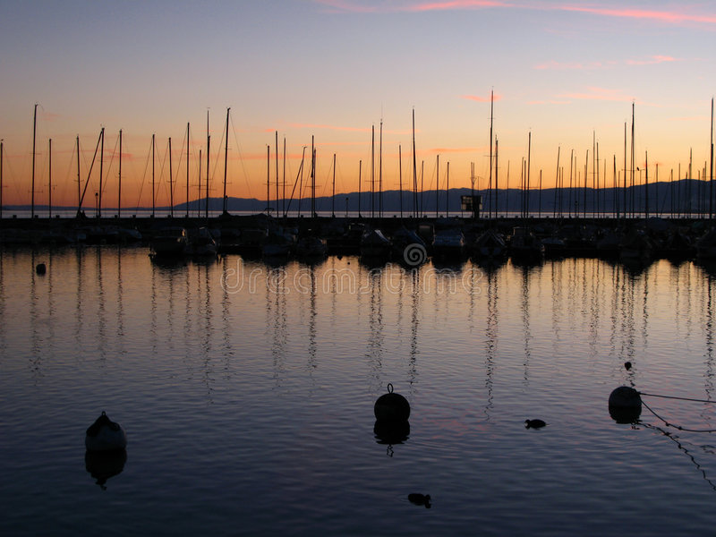 Sunset in Ouchy marina 07 Lausanne, Switzerland stock photo
