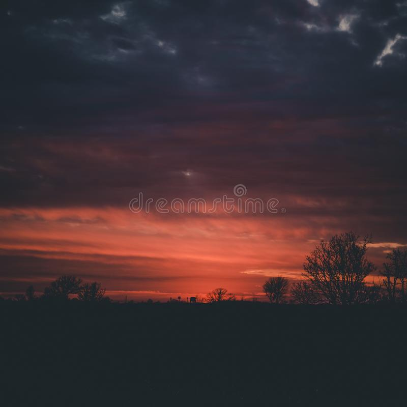 Sunset out in the country royalty free stock photo
