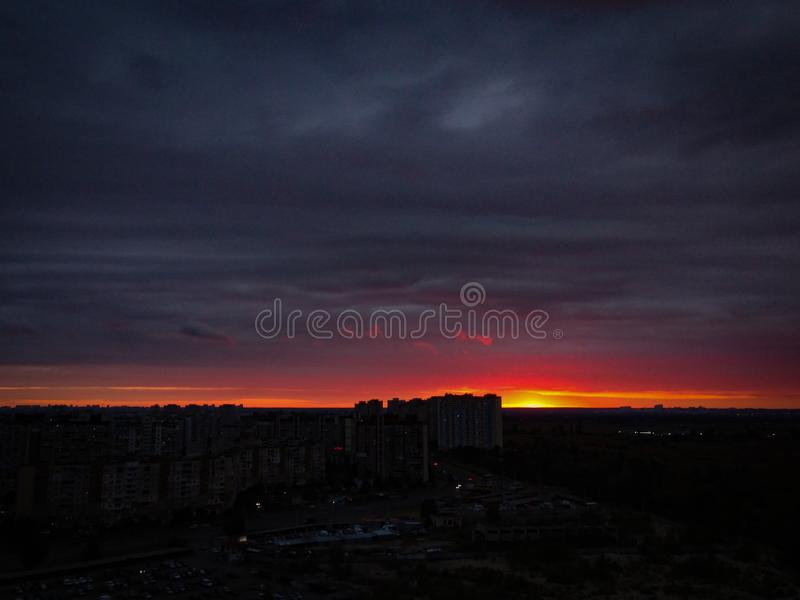 Sunset on the outskirts of the city. Funny, panorama, new, kiev, building royalty free stock photos