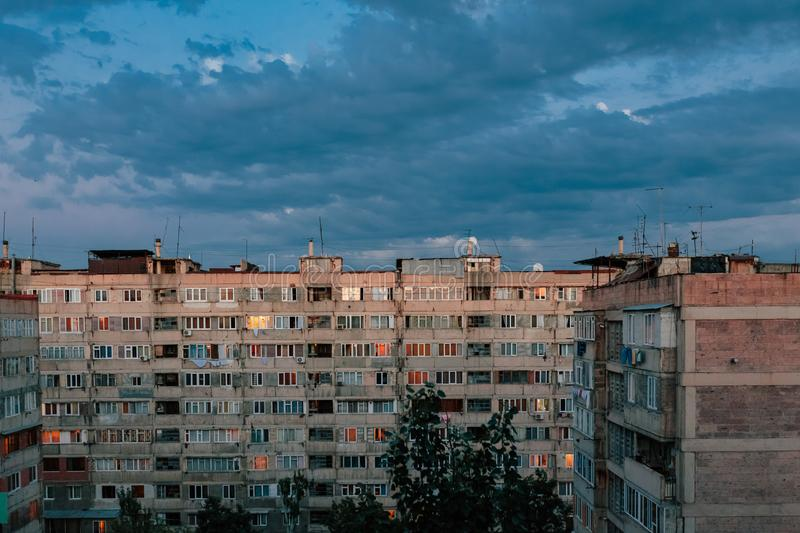 Download Sunset On The Outskirts Of Yerevan, Armenia Stock Image   Image Of  Highrise,