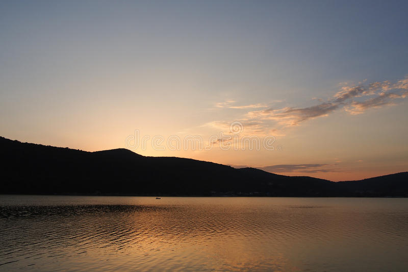 Sunset over the Abrau Lake royalty free stock photos