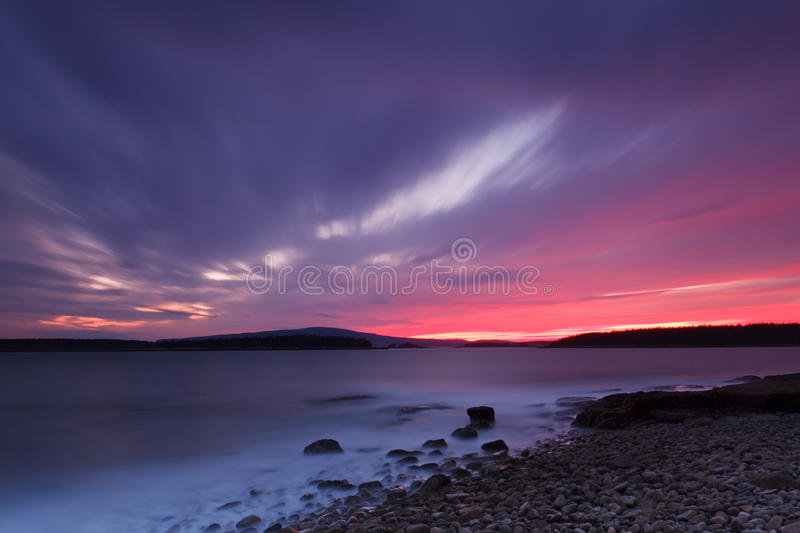 Sunset over Acadia National park stock photo
