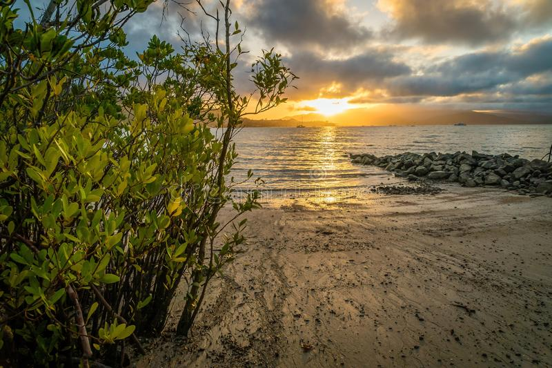 Sunset over Airlie beach in Queensland, Australia stock image