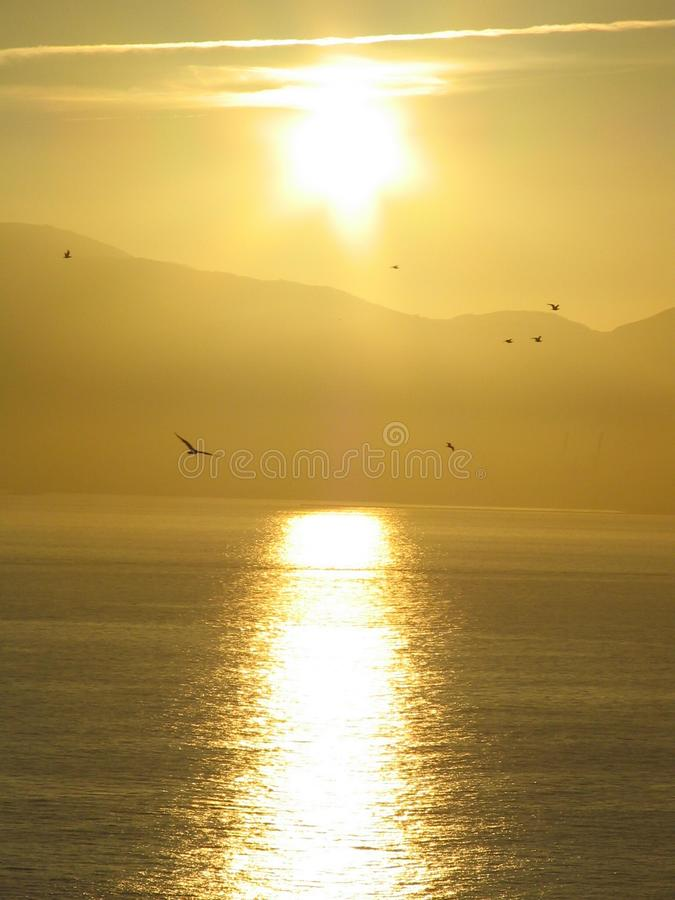 Sunset over Algeciras royalty free stock photo
