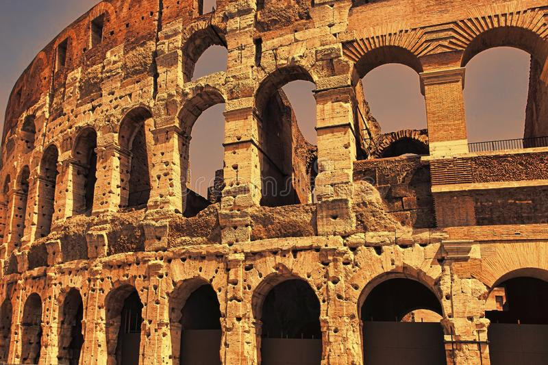 Sunset over the ancient Colosseum. Rome. Italy royalty free stock image