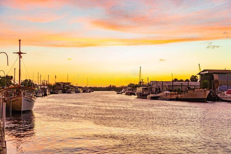 Sunset over Anclote River at Tarpon Springs stock photography