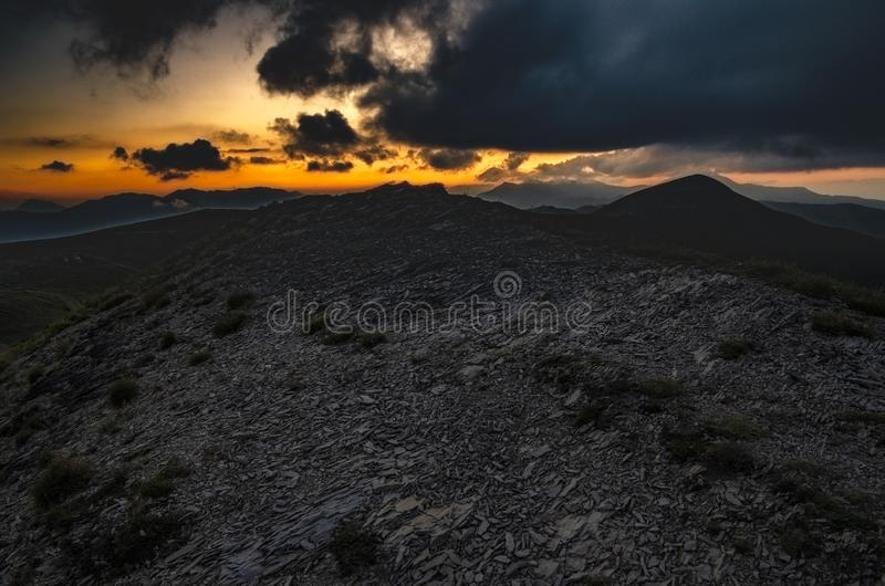 Sunset over the Apennines in summer. Regional Park of Corno alle Scale, Tuscan Emilian Apennines, Italy royalty free stock images