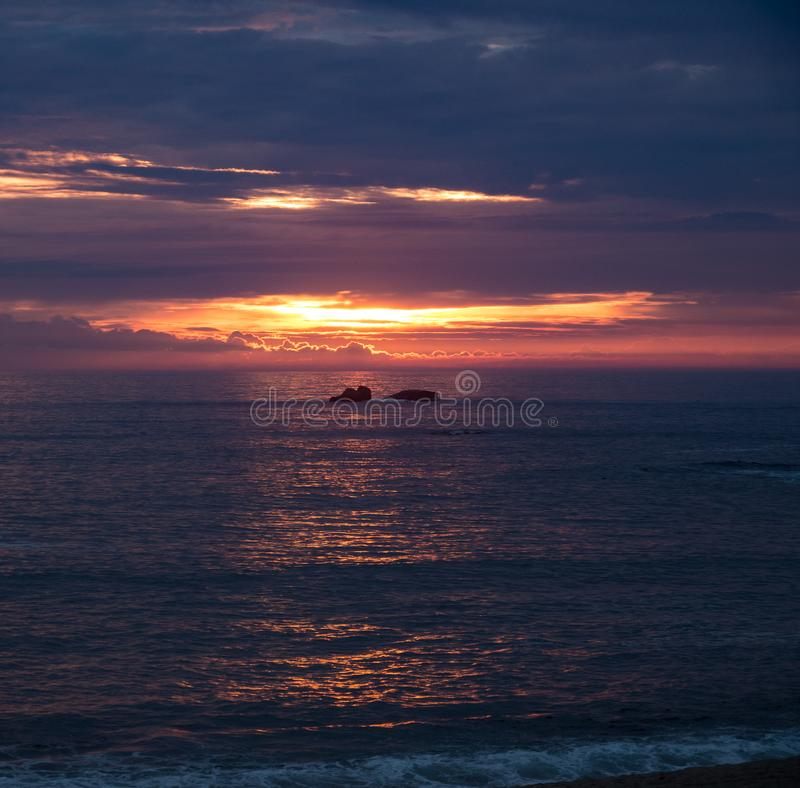 Sunset over Atlantic Ocean from Northern Coast of Portugal stock images