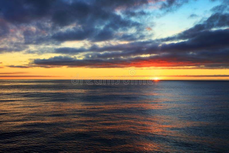 Sunset over the Atlantic Ocean stock image