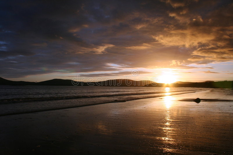 Sunset over Ballinskelligs Bay stock images