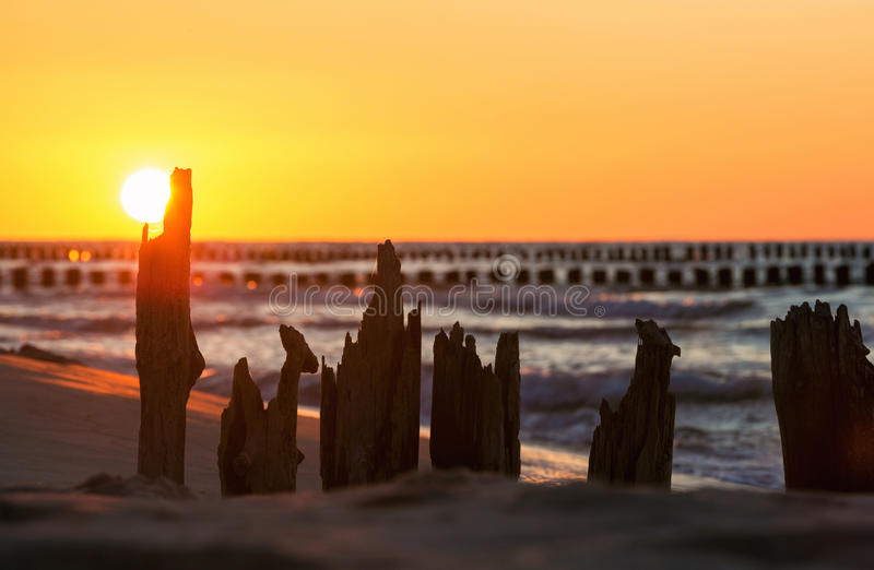 Sunset over the Baltic Sea royalty free stock photography