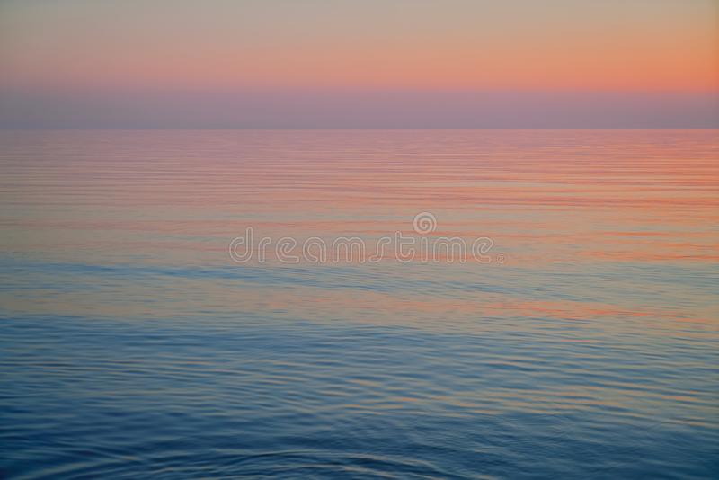 Sunset over Baltic sea. Beautiful pink sunset. Natural background. Latvia royalty free stock photos