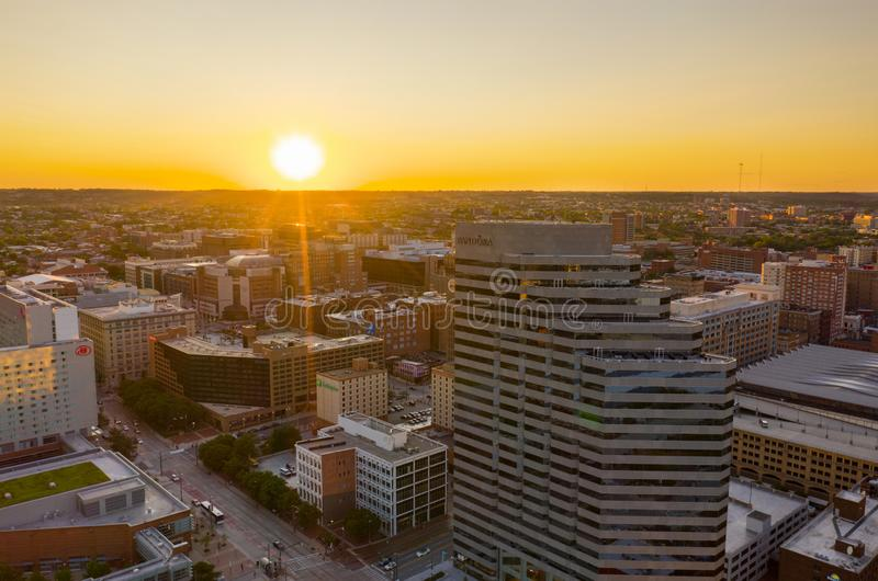Sunset over Baltimore MD aerial photo stock photo