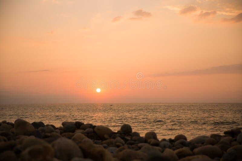 Sunset on Rosita Beach in Centro. Sunset over the Banderas Bay in Centro, Puerto Vallarta, Jalisco, Mexico stock image