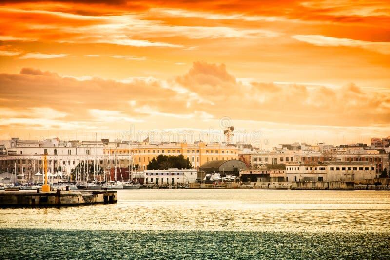 Sunset over Bari stock photography